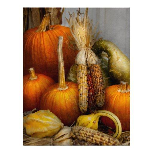 Otoño - calabaza - calabazas y maíz flyer a todo color