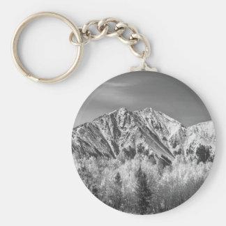 Otoño de la montaña rocosa alto en blanco y negro llavero redondo tipo pin