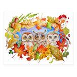 otoño de tres búhos tarjetas postales