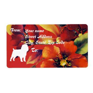 Otoño del Affenpinscher floral Etiquetas De Envío