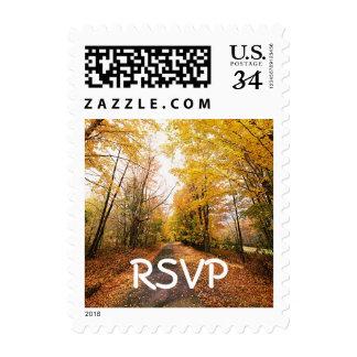 Otoño del boda de la caída de RSVP de la postal Timbre Postal