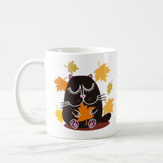 Otoño del gato negro taza clásica