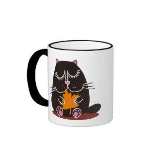 Otoño del gato negro taza de dos colores