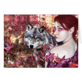 Otoño del lobo tarjeta de felicitación