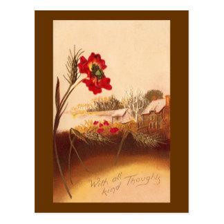 Otoño del vintage de la amapola y del trigo postal