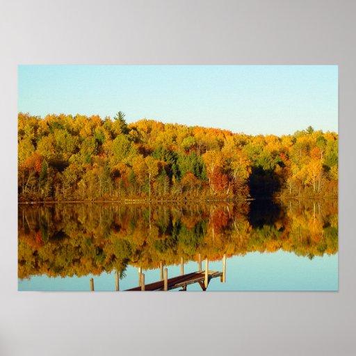 Otoño en el lago - impresión póster