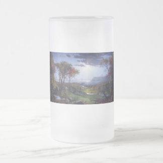Otoño - en el río Hudson por el jaspe Cropsey Taza Cristal Mate