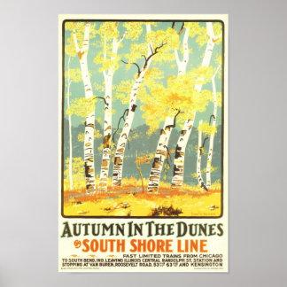 Otoño en la línea del sur de la orilla de las duna póster
