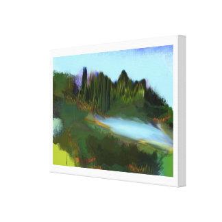 Otoño en la pintura digital del parque impresión en lienzo estirada