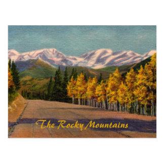 Otoño en la postal del vintage de Rockies