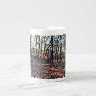 Otoño en las maderas taza de porcelana