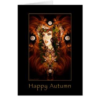 Otoño feliz - tarjeta de la diosa del otoño