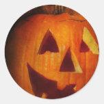 Otoño - Halloween - Jack-o-Linterna Pegatina Redonda