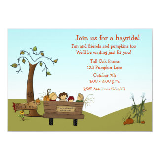 Otoño Hayride, carro, niños Invitaciones Personales