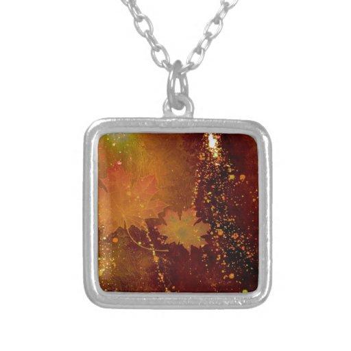 otoño, hojas, marrón de oro colgante cuadrado