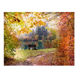 Otoño por la charca del parque - hojas de la caída postales