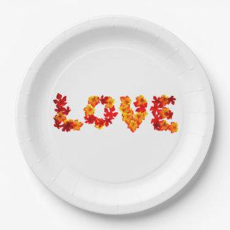 Otoño que casa caída rústica del amor del encanto plato de papel de 9 pulgadas