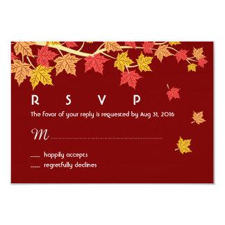 """Otoño que casa la tarjeta de RSVP con caer de las Invitación 3.5"""" X 5"""""""