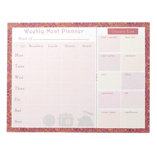Otoño semanal del planificador de la comida bloc de notas