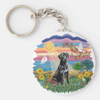 Otoño Sun - Labrador negro Llavero Redondo Tipo Pin