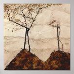 Otoño Sun y árboles de Egon Schiele Posters