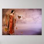 Otoño y mariposas de monarca poster