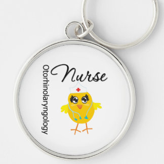 Otorhinolaryngology Nurse Chick v1 Silver-Colored Round Keychain