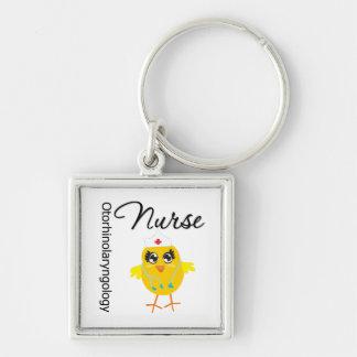 Otorhinolaryngology Nurse Chick v1 Silver-Colored Square Keychain