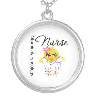 Otorhinolaryngology Nurse Chick v2 Round Pendant Necklace