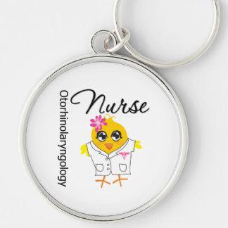 Otorhinolaryngology Nurse Chick v2 Silver-Colored Round Keychain
