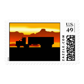 OTR Trucker Silhouette At Sunset Stationery Stamps