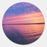Otra puesta del sol en los Great Lakes Etiqueta Redonda