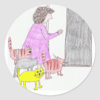 otra señora pegatinas del gato pegatina redonda