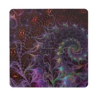 Otro arte del fractal de la fantasía del mundo posavasos de puzzle