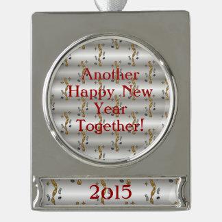 Otro confeti de la Feliz Año Nuevo junto - Adornos Navideños Plateados