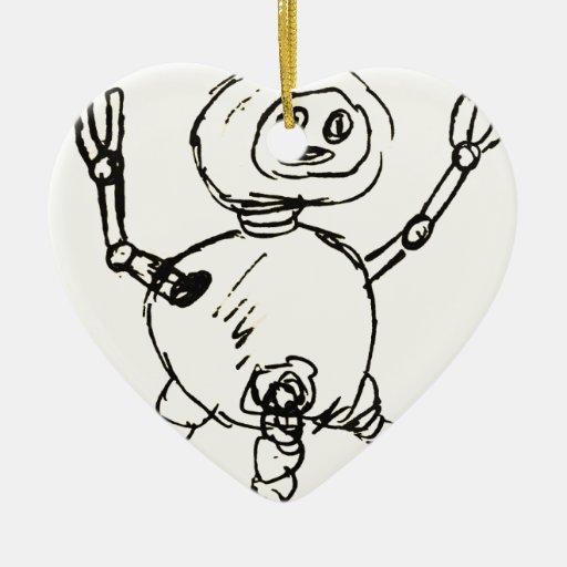 Otro Doodle del robot Adorno De Cerámica En Forma De Corazón
