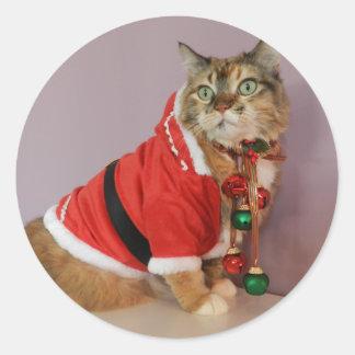 Otro gato de Santa del navidad Pegatina Redonda