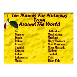 Otros nombres para las nueces moscada moscadas tarjeta postal