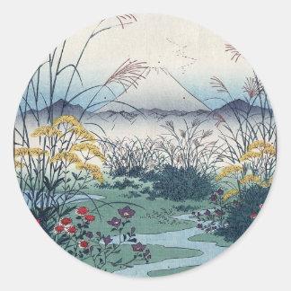 Otsuki fields by Hiroshige, Vintage Japanese Print Classic Round Sticker