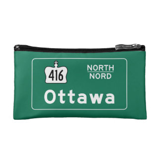 Ottawa, Canada Road Sign Makeup Bag