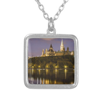 Ottawa Parliament at Night Silver Plated Necklace