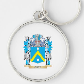 Otte Coat of Arms - Family Crest Silver-Colored Round Keychain