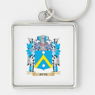 Otte Coat of Arms - Family Crest Silver-Colored Square Keychain