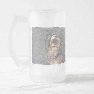 Otter Back Float Frosted Glass Beer Mug