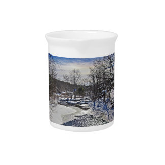 Otter Brook Winter Scene Beverage Pitcher