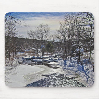 Otter Brook Winter Scene Mouse Pad