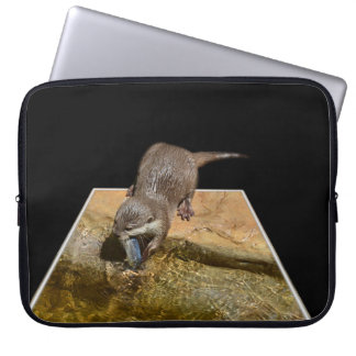 Otter Eating Tasty Fish, Computer Sleeve