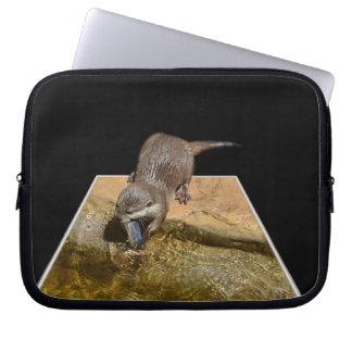 Otter Eating Tasty Fish, Laptop Sleeve