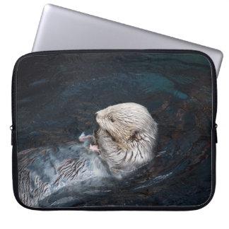 Otter eating water animal nature aquatic wild zoo computer sleeve