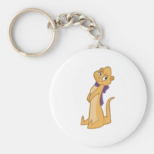 Otter Girl Sitting Basic Round Button Keychain